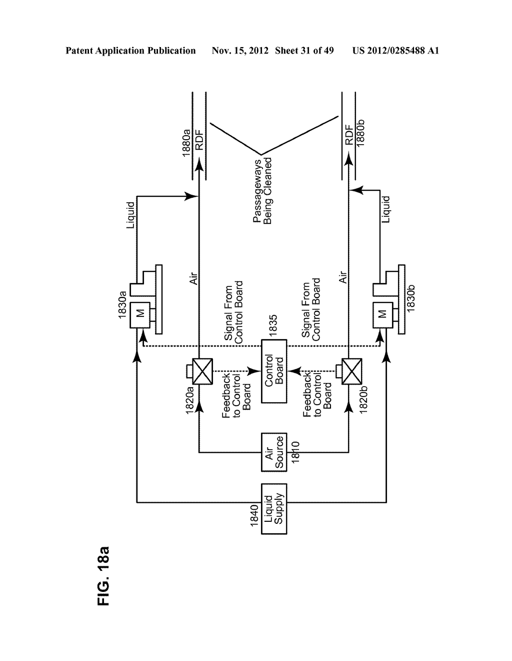 Apparatus and method for cleaning passageways such as endoscope channels     using flow of liquid and gas - diagram, schematic, and image 32