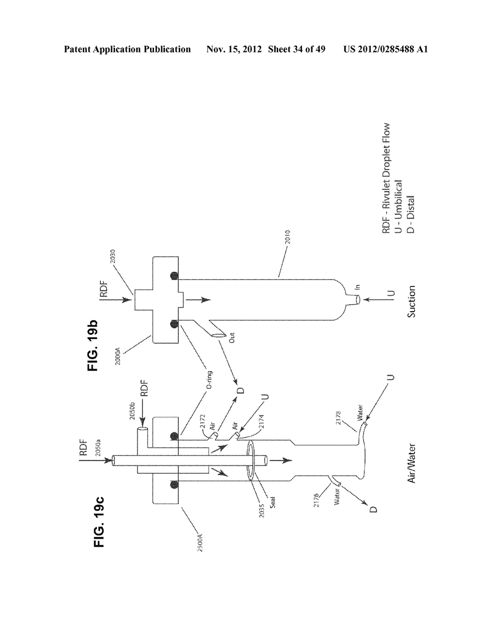 Apparatus and method for cleaning passageways such as endoscope channels     using flow of liquid and gas - diagram, schematic, and image 35