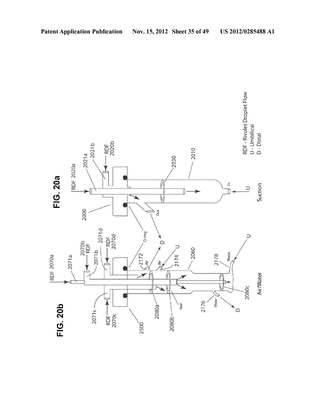 Apparatus and method for cleaning passageways such as endoscope channels     using flow of liquid and gas - diagram, schematic, and image 36