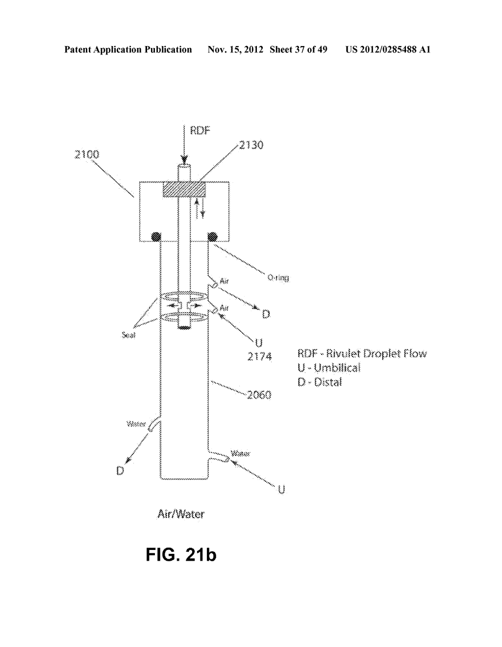 Apparatus and method for cleaning passageways such as endoscope channels     using flow of liquid and gas - diagram, schematic, and image 38