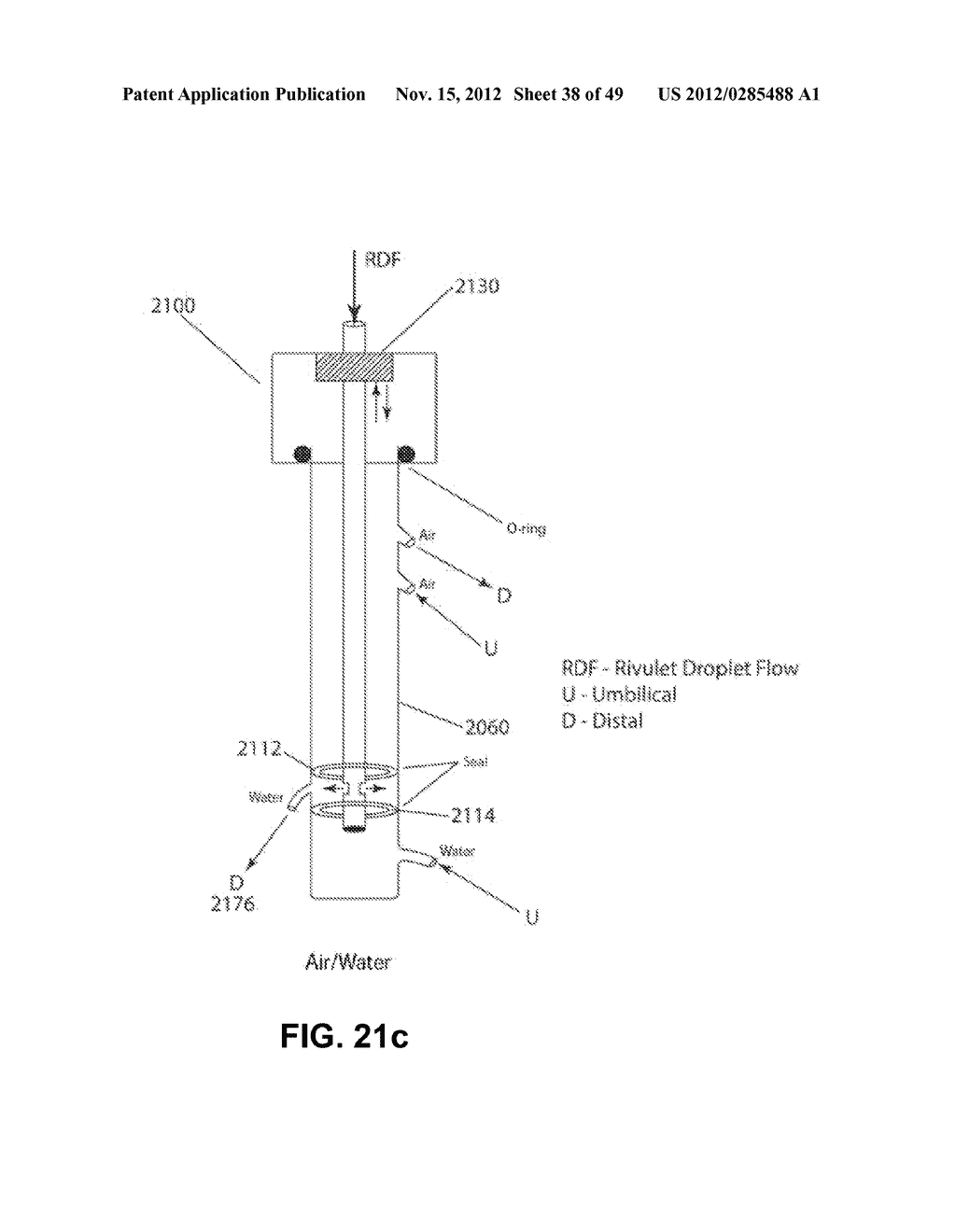 Apparatus and method for cleaning passageways such as endoscope channels     using flow of liquid and gas - diagram, schematic, and image 39
