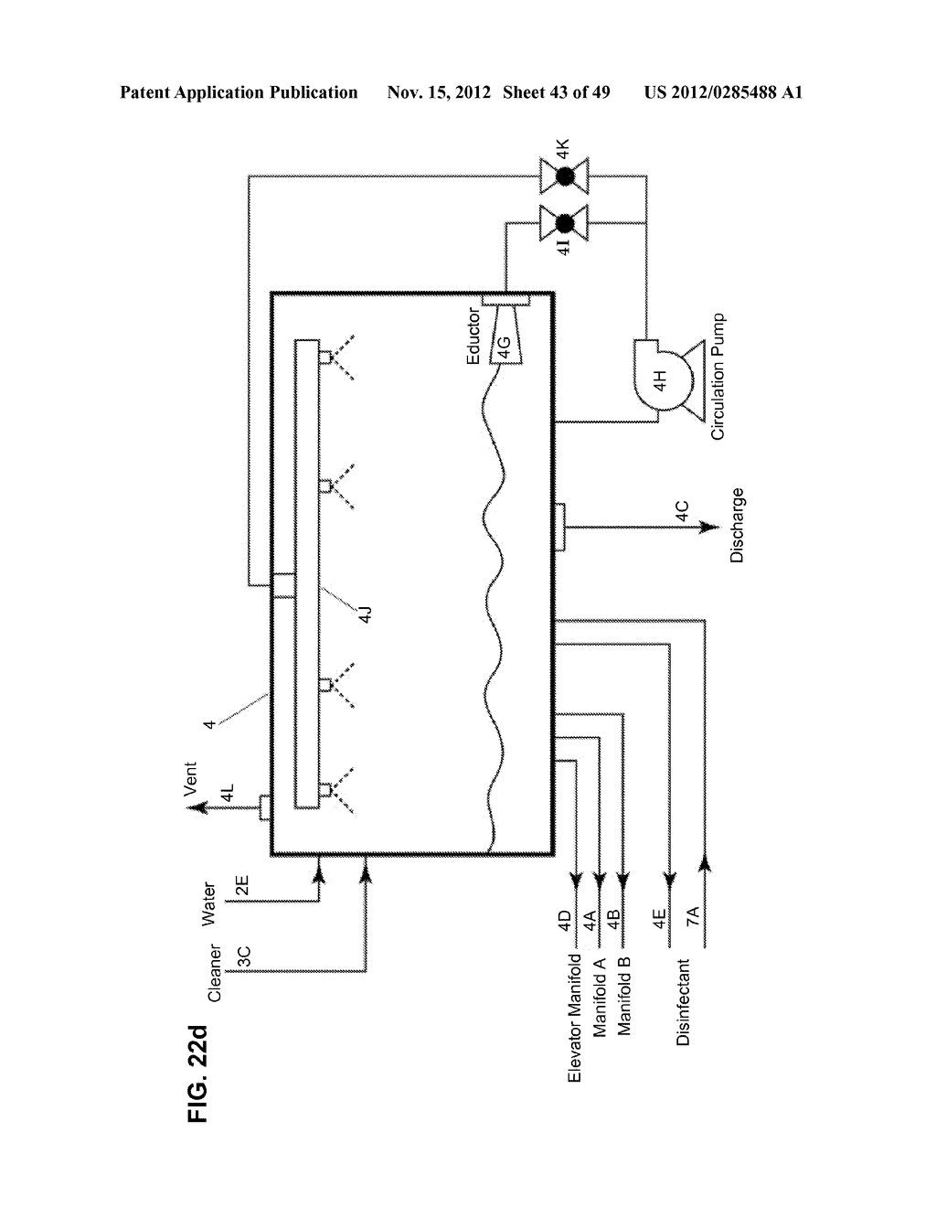 Apparatus and method for cleaning passageways such as endoscope channels     using flow of liquid and gas - diagram, schematic, and image 44