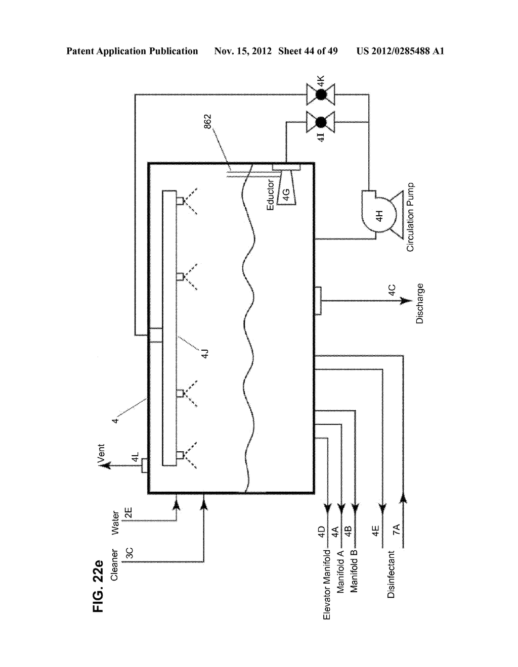 Apparatus and method for cleaning passageways such as endoscope channels     using flow of liquid and gas - diagram, schematic, and image 45