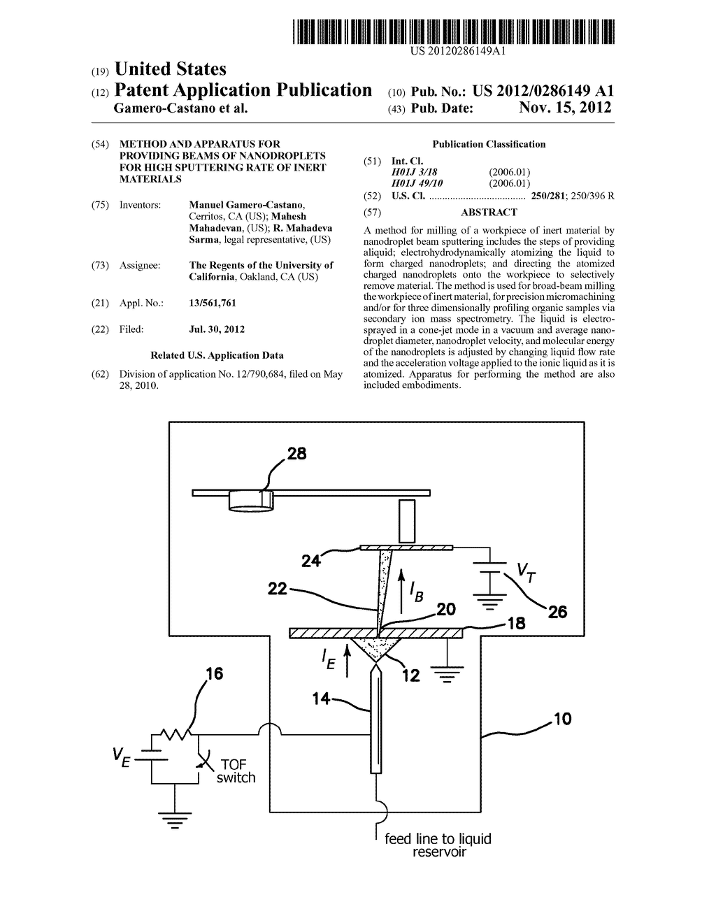 METHOD AND APPARATUS FOR PROVIDING BEAMS OF NANODROPLETS FOR HIGH     SPUTTERING RATE OF INERT MATERIALS - diagram, schematic, and image 01
