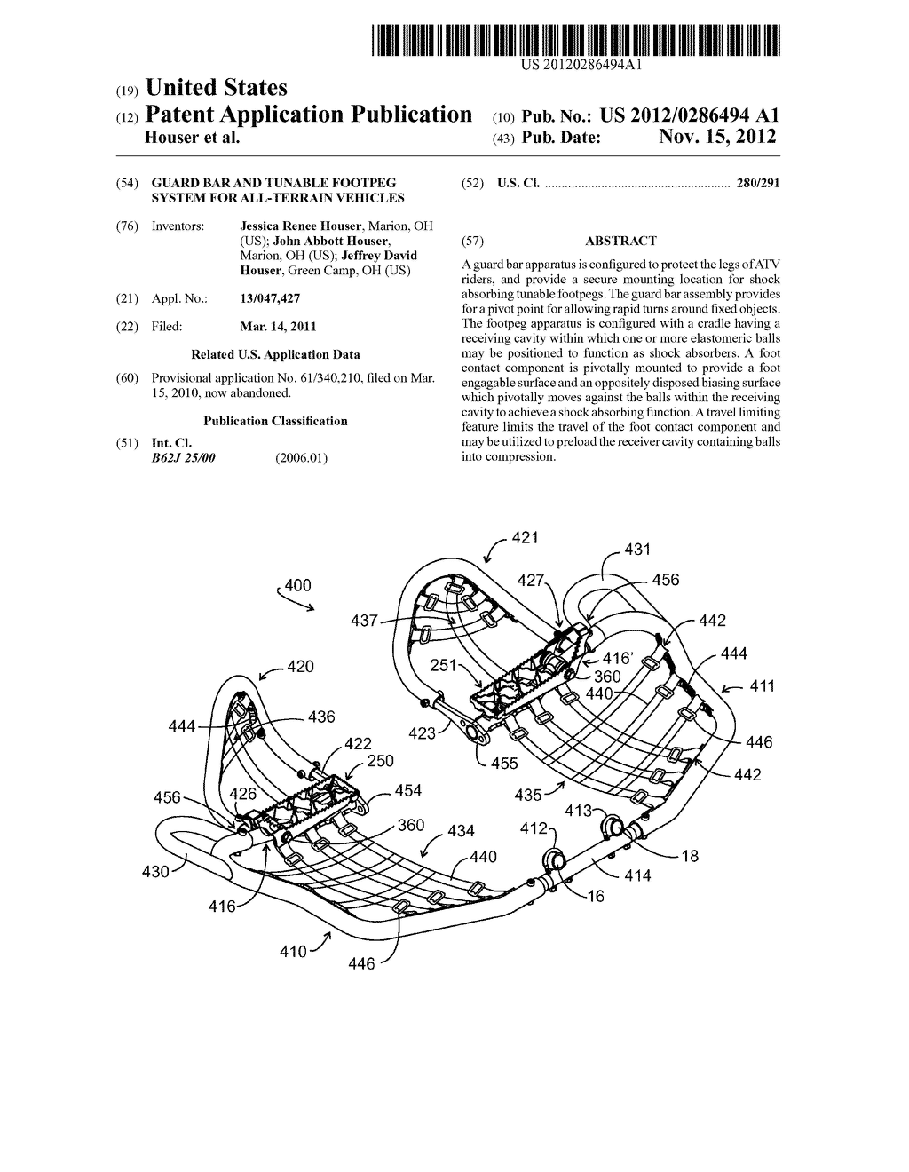 Guard Bar and Tunable Footpeg System for All-Terrain Vehicles - diagram, schematic, and image 01
