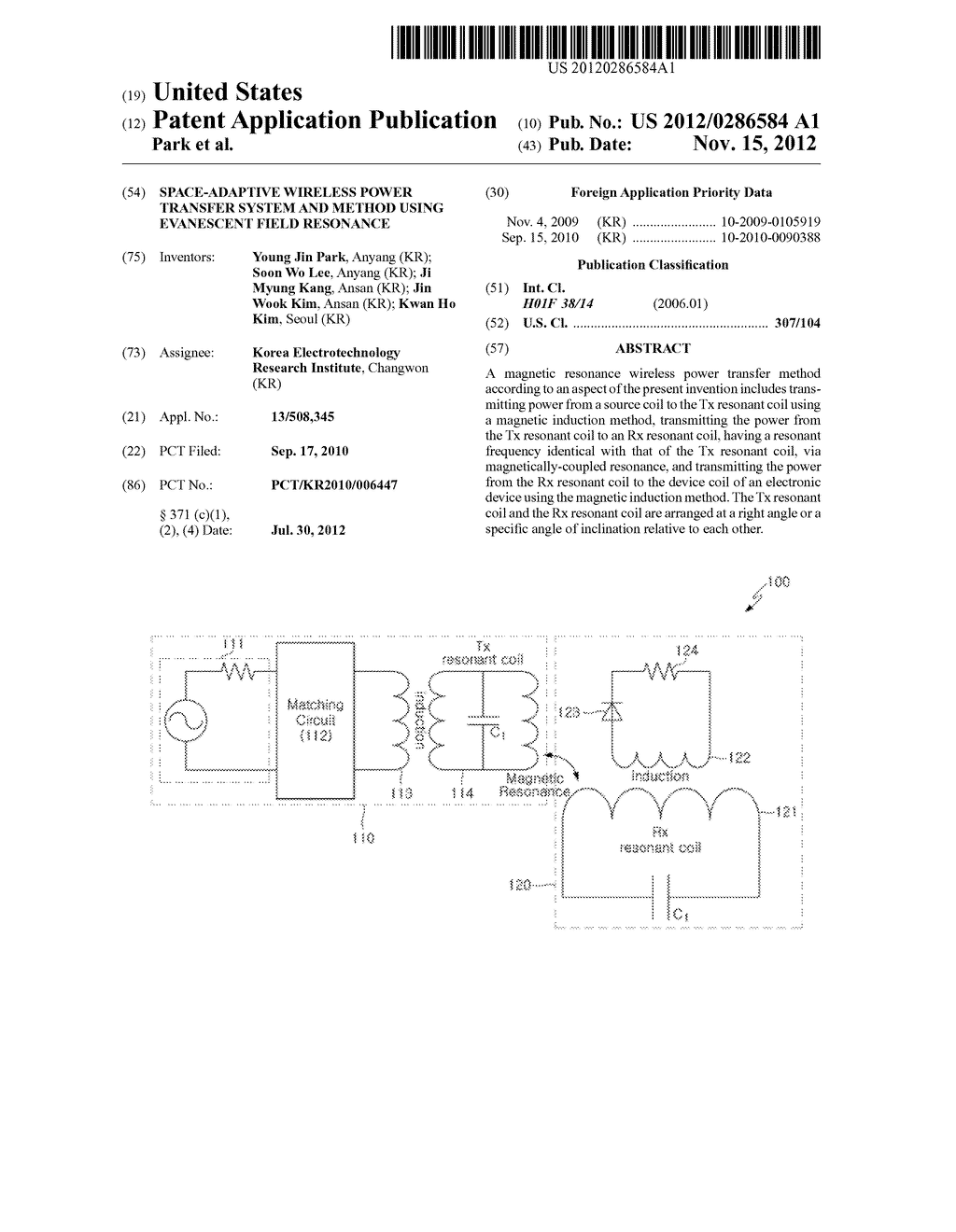 SPACE-ADAPTIVE WIRELESS POWER TRANSFER SYSTEM AND METHOD USING EVANESCENT     FIELD RESONANCE - diagram, schematic, and image 01