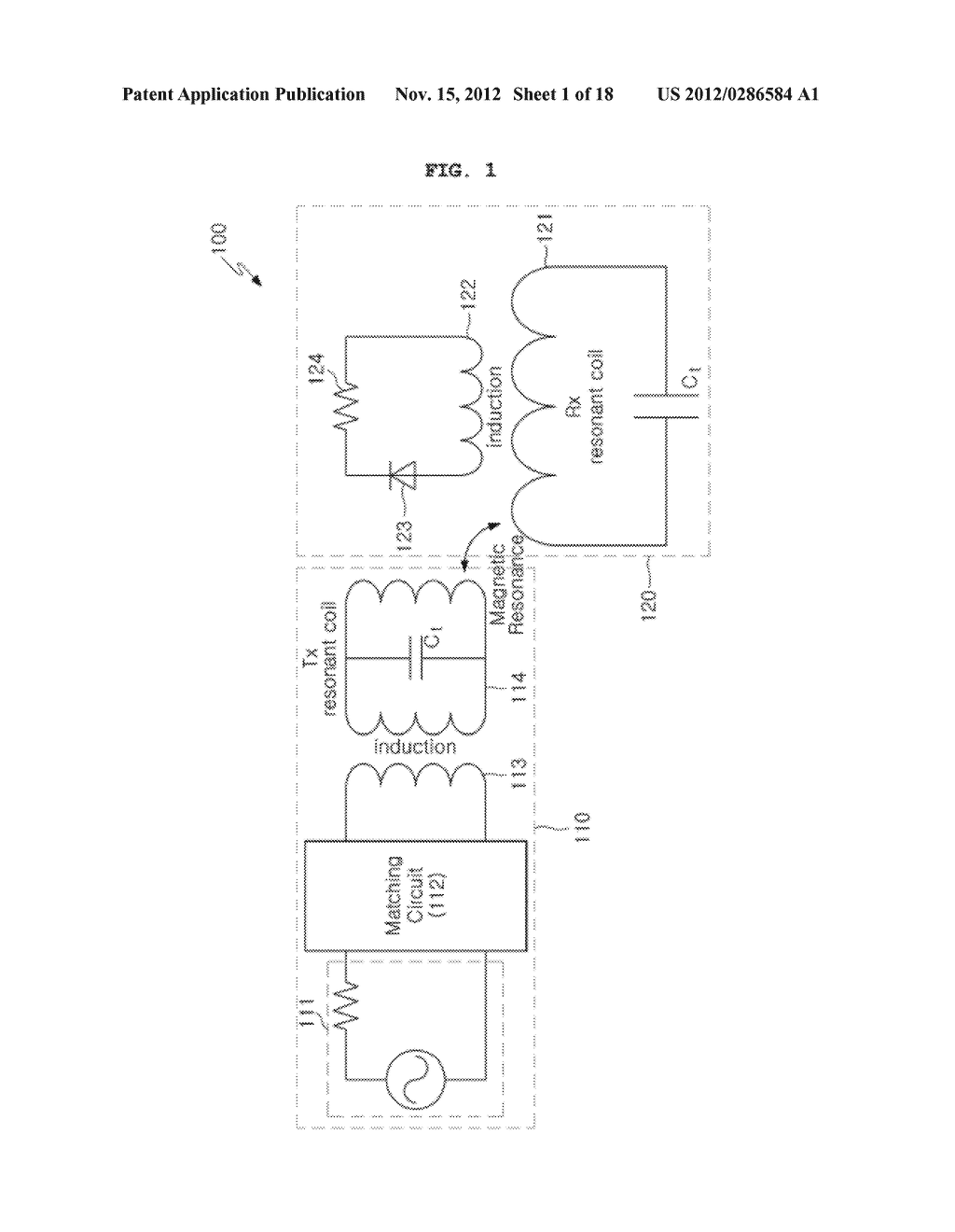 SPACE-ADAPTIVE WIRELESS POWER TRANSFER SYSTEM AND METHOD USING EVANESCENT     FIELD RESONANCE - diagram, schematic, and image 02