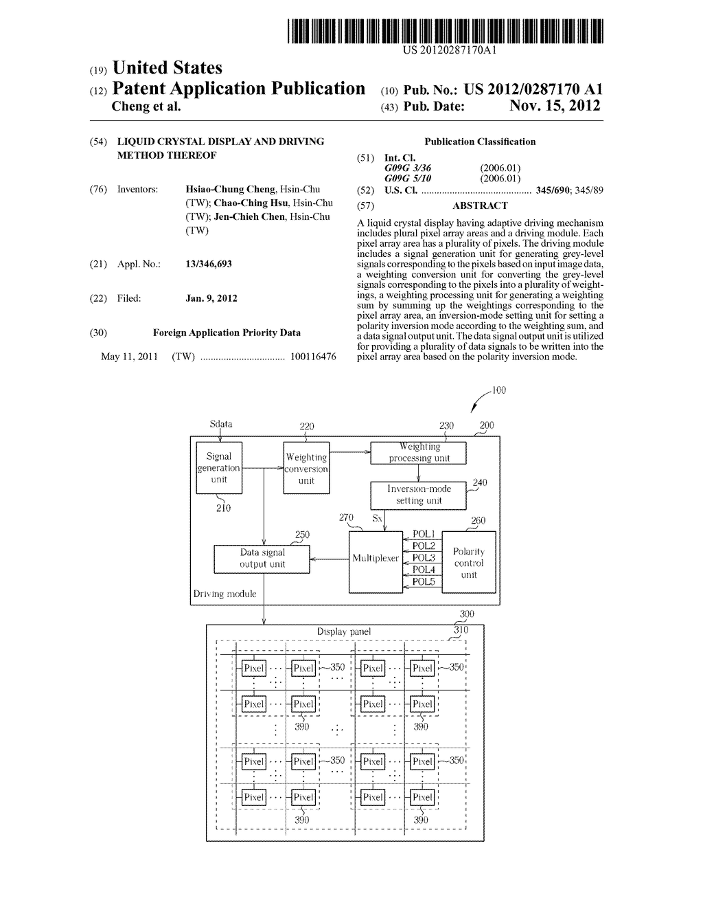 LIQUID CRYSTAL DISPLAY AND DRIVING METHOD THEREOF - diagram, schematic, and image 01
