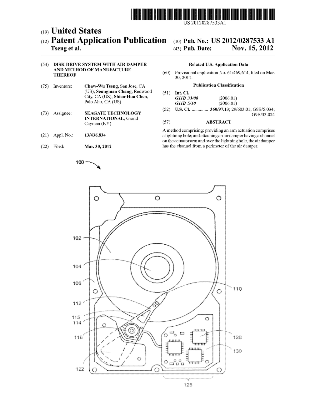 DISK DRIVE SYSTEM WITH AIR DAMPER AND METHOD OF MANUFACTURE THEREOF - diagram, schematic, and image 01