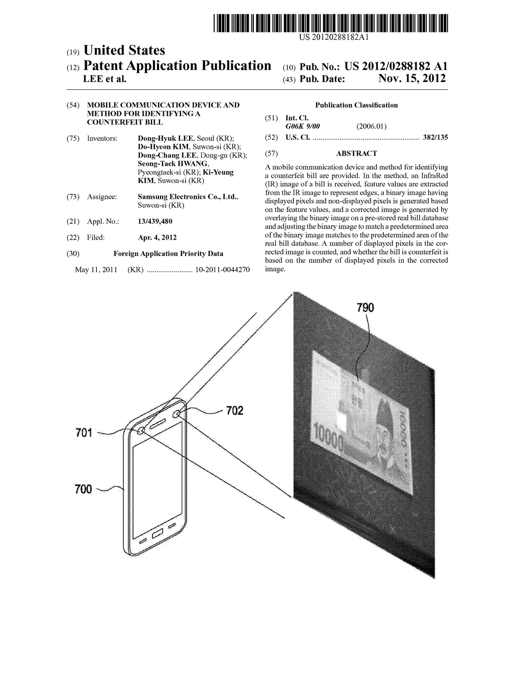 MOBILE COMMUNICATION DEVICE AND METHOD FOR IDENTIFYING A COUNTERFEIT BILL - diagram, schematic, and image 01