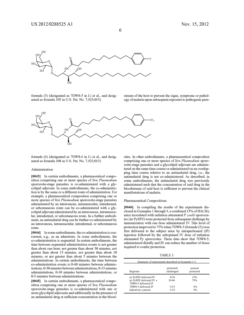PHARMACEUTICAL COMPOSITIONS COMPRISING ATTENUATED PLASMODIUM SPOROZOITES     AND GLYCOLIPID ADJUVANTS - diagram, schematic, and image 08