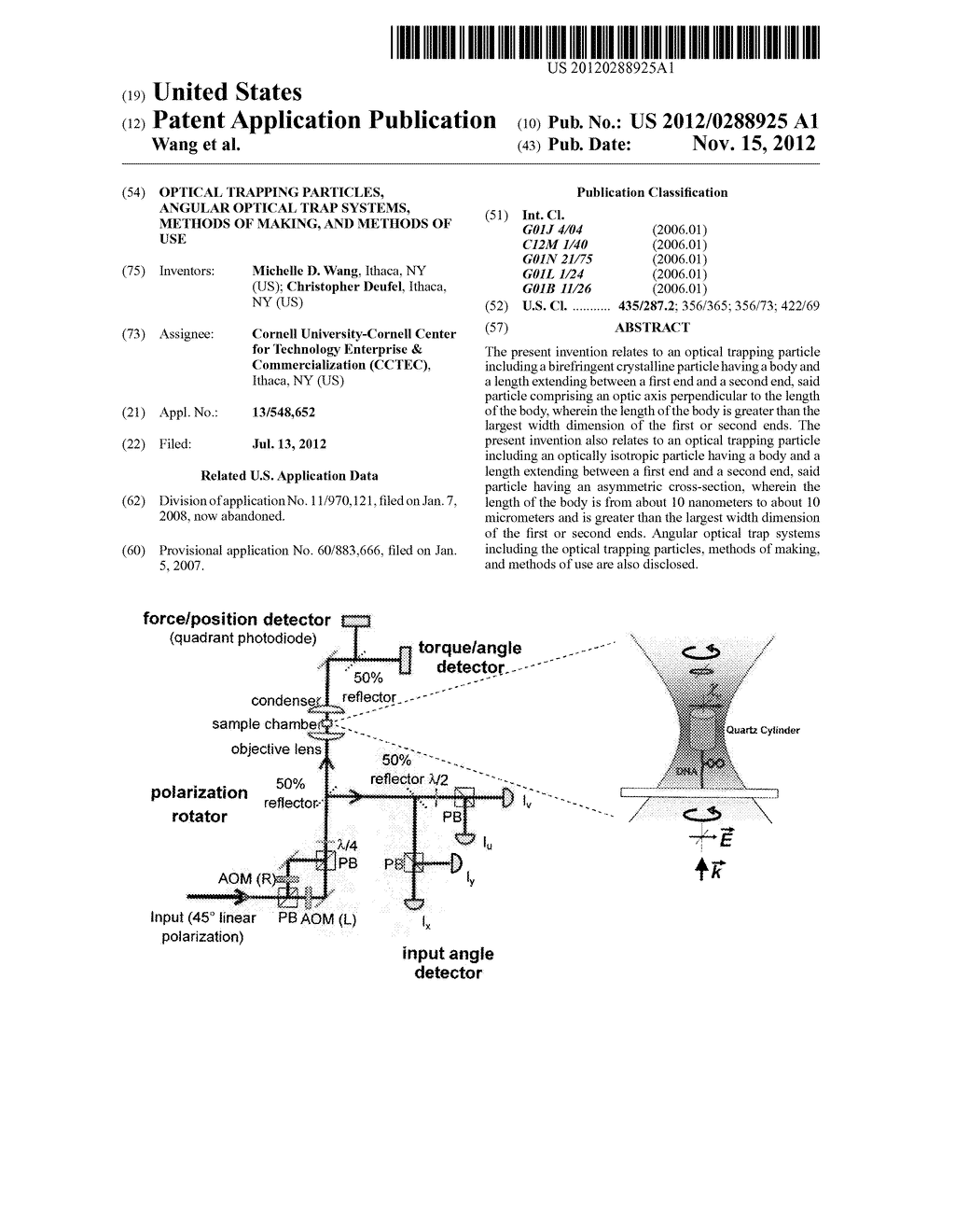 OPTICAL TRAPPING PARTICLES, ANGULAR OPTICAL TRAP SYSTEMS, METHODS OF     MAKING, AND METHODS OF USE - diagram, schematic, and image 01