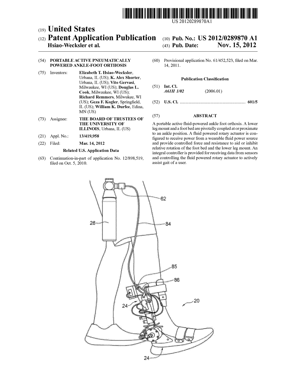 PORTABLE ACTIVE PNEUMATICALLY POWERED ANKLE-FOOT ORTHOSIS - diagram, schematic, and image 01