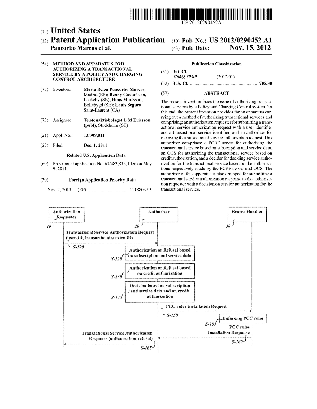 METHOD AND APPARATUS FOR AUTHORIZING A TRANSACTIONAL SERVICE BY A POLICY     AND CHARGING CONTROL ARCHITECTURE - diagram, schematic, and image 01