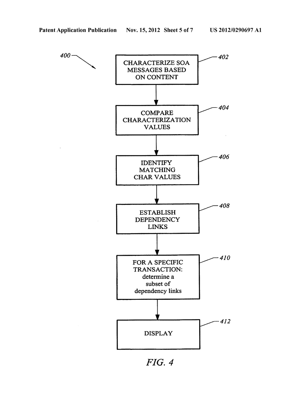 SYSTEM, APPARATUS AND METHOD FOR CHARACTERIZING MESSAGES TO DISCOVER     DEPENDENCIES OF SERVICE-ORIENTED ARCHITECTURES - diagram, schematic, and image 06