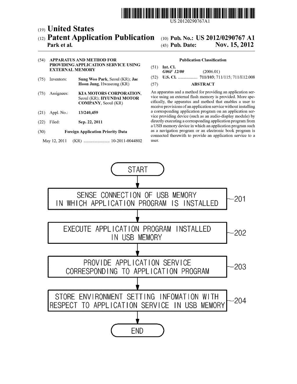 APPARATUS AND METHOD FOR PROVIDING APPLICATION SERVICE USING EXTERNAL     MEMORY - diagram, schematic, and image 01