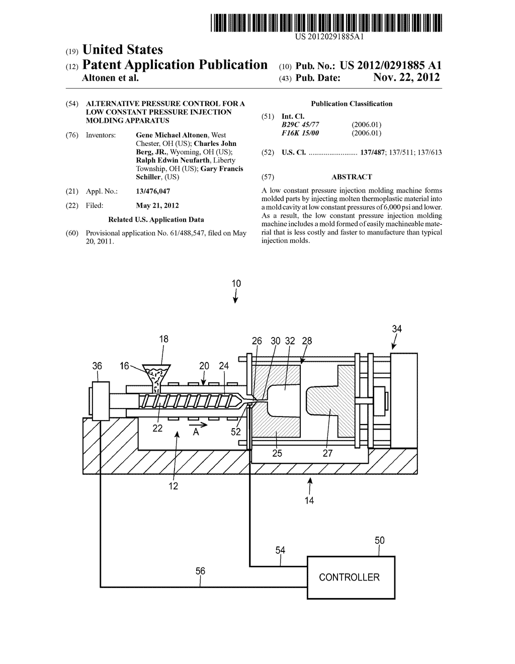 Alternative Pressure Control for a Low Constant Pressure Injection Molding     Apparatus - diagram, schematic, and image 01