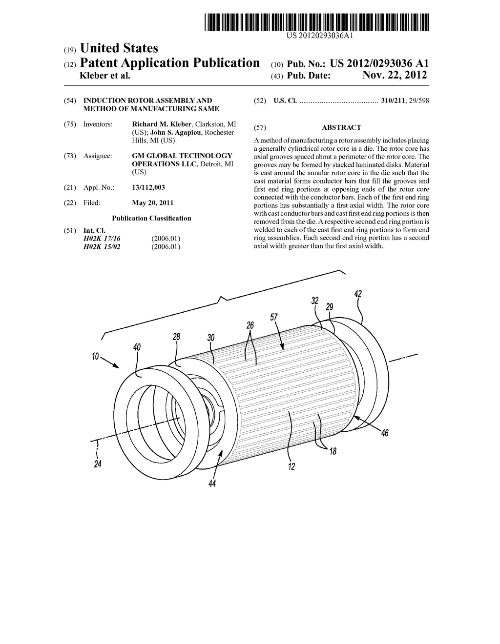 INDUCTION ROTOR ASSEMBLY AND METHOD OF MANUFACTURING SAME - diagram, schematic, and image 01