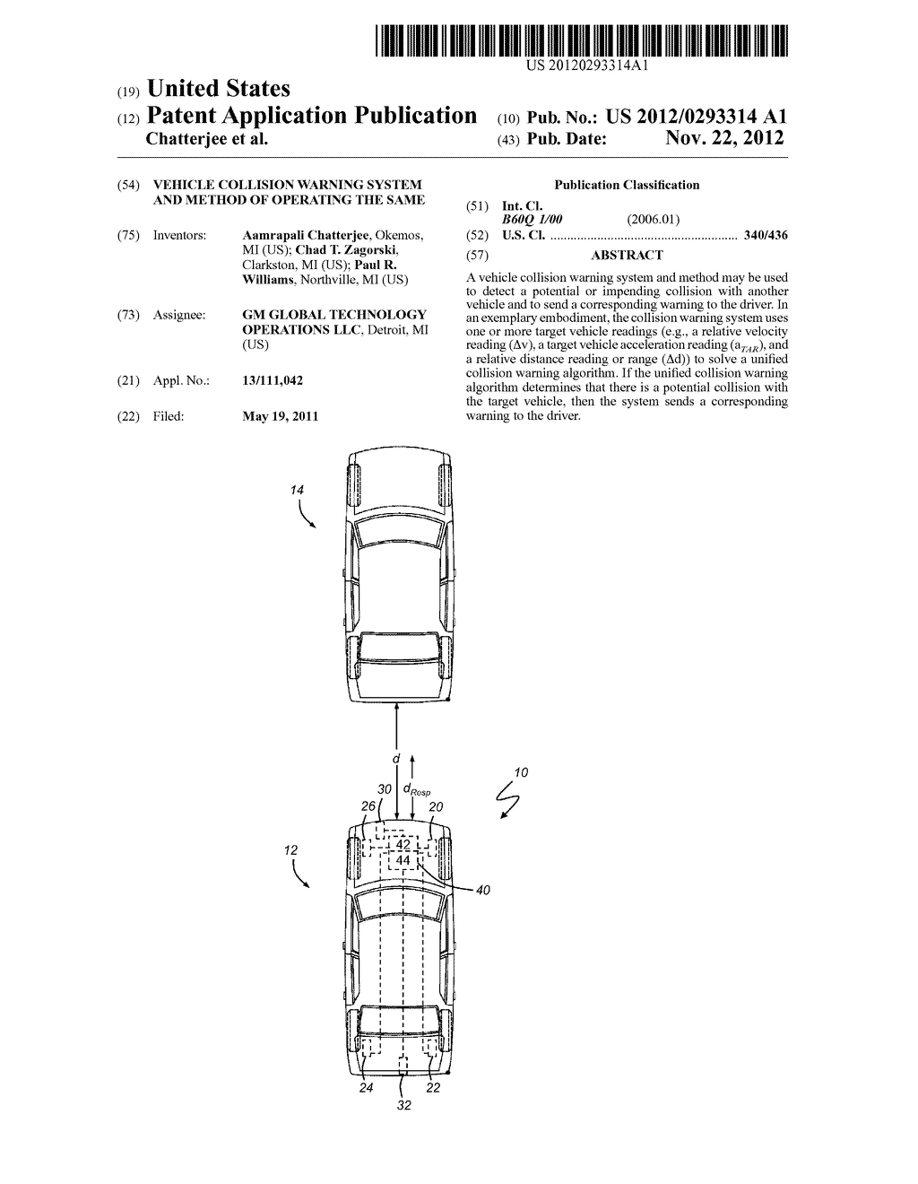 VEHICLE COLLISION WARNING SYSTEM AND METHOD OF OPERATING THE SAME - diagram, schematic, and image 01