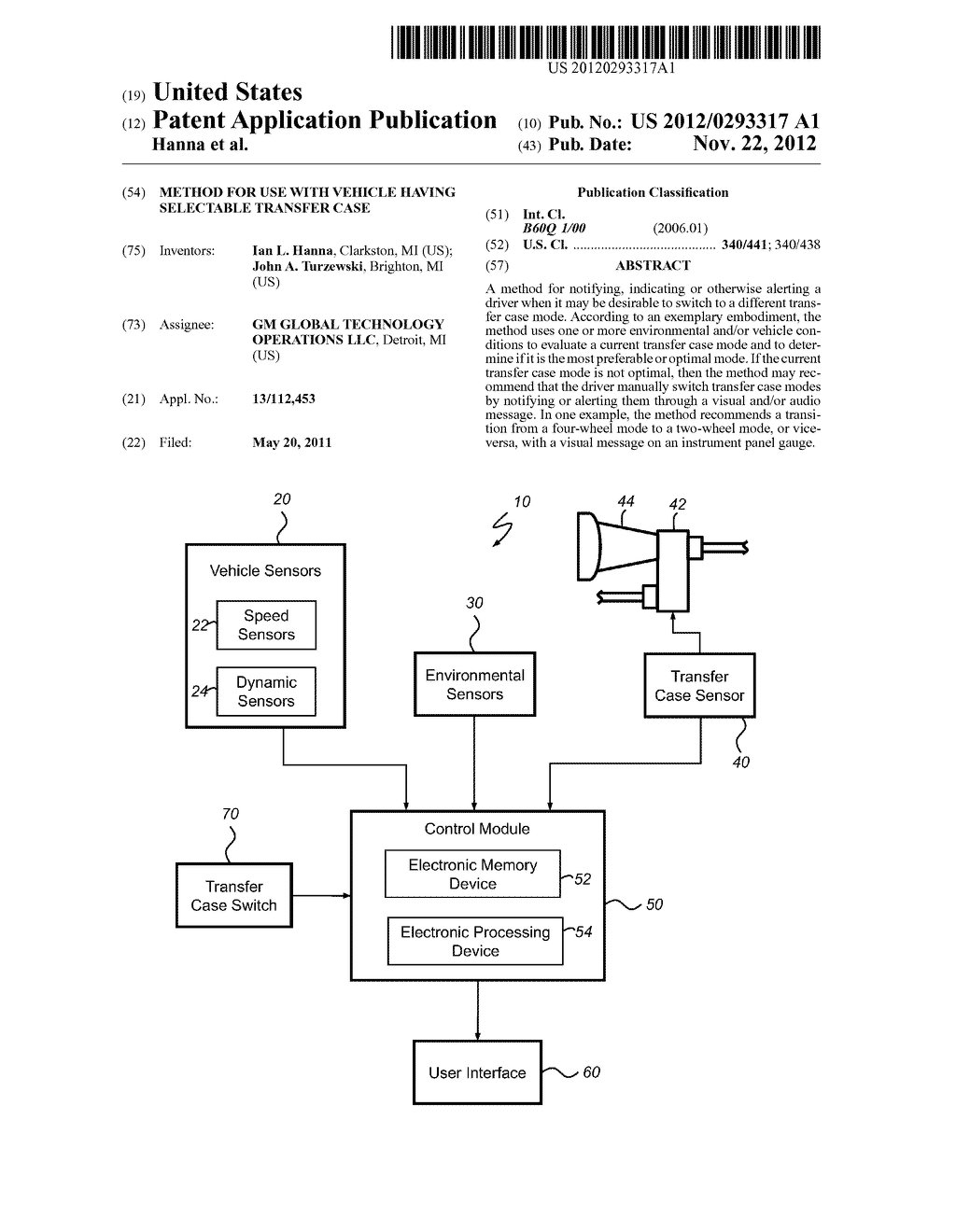 METHOD FOR USE WITH VEHICLE HAVING SELECTABLE TRANSFER CASE - diagram, schematic, and image 01