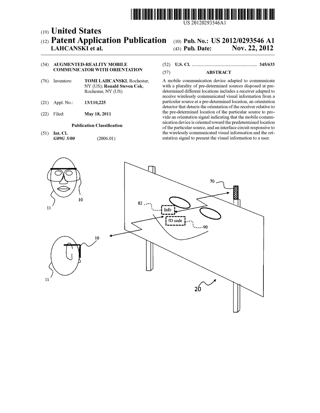 AUGMENTED-REALITY MOBILE COMMUNICATOR WITH ORIENTATION - diagram, schematic, and image 01