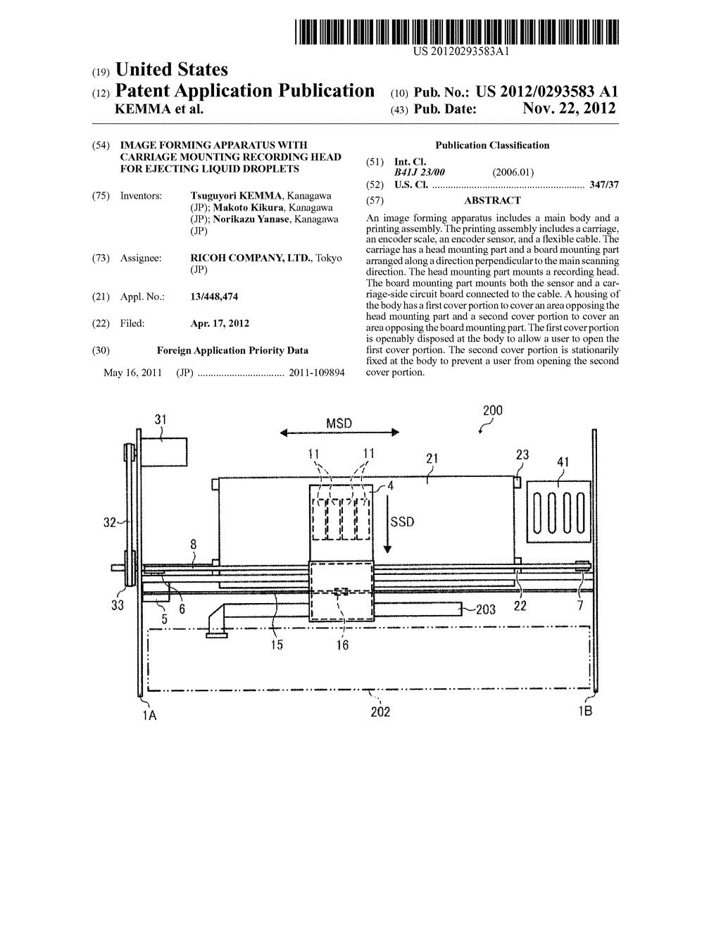 IMAGE FORMING APPARATUS WITH CARRIAGE MOUNTING RECORDING HEAD FOR EJECTING     LIQUID DROPLETS - diagram, schematic, and image 01