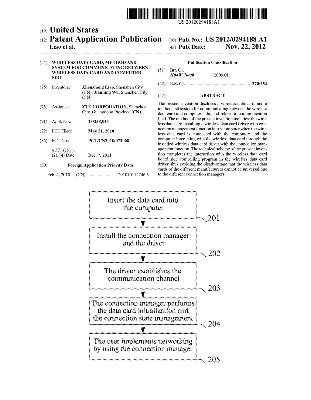 Wireless Data Card, Method and System for Communicating between Wireless     Data Card and Computer Side - diagram, schematic, and image 01