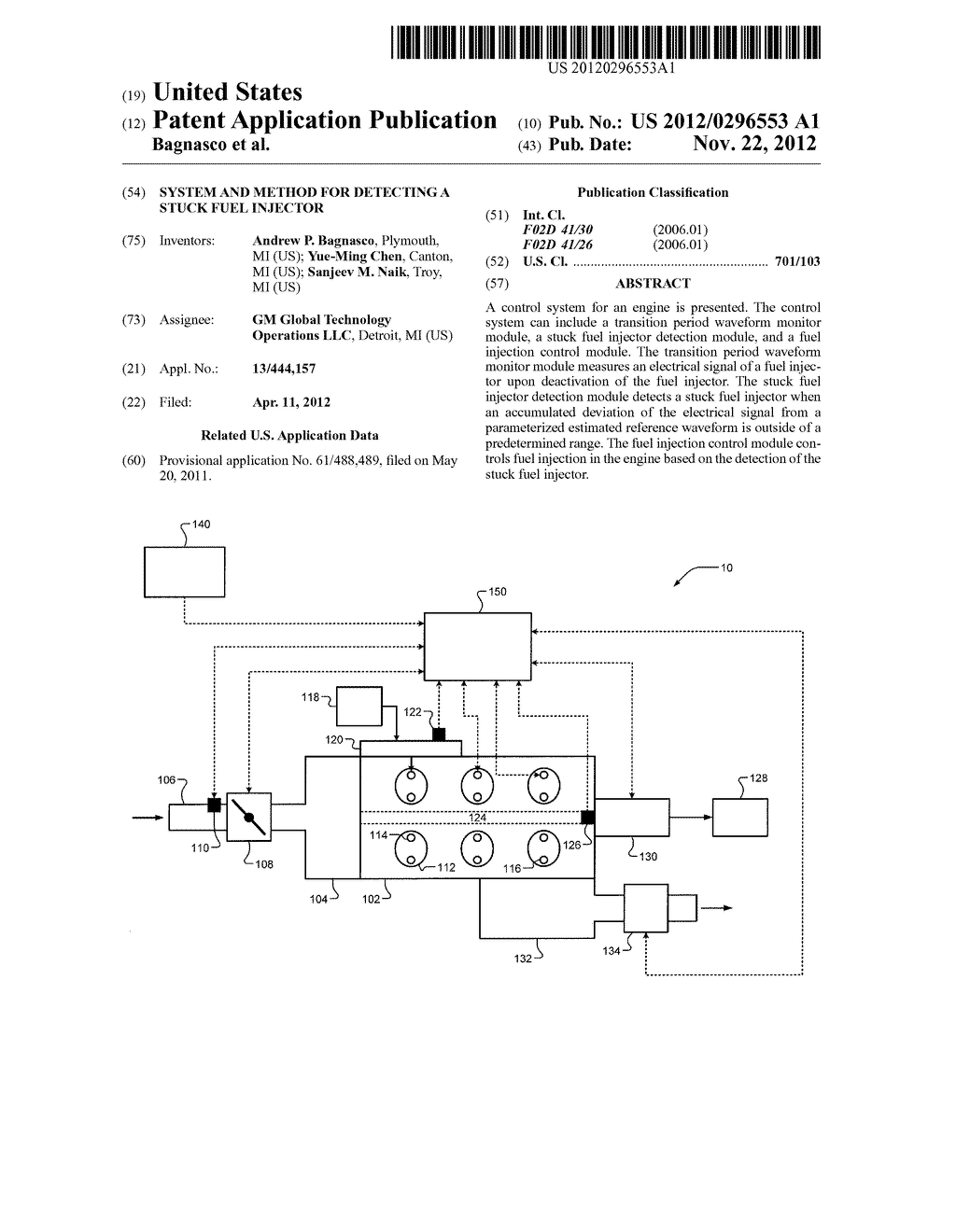 SYSTEM AND METHOD FOR DETECTING A STUCK FUEL INJECTOR - diagram, schematic, and image 01