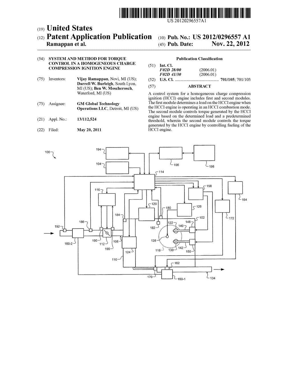 SYSTEM AND METHOD FOR TORQUE CONTROL IN A HOMOGENEOUS CHARGE COMPRESSION     IGNITION ENGINE - diagram, schematic, and image 01