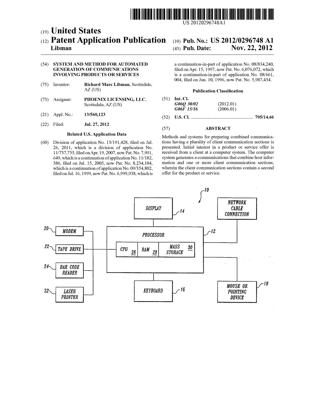 SYSTEM AND METHOD FOR AUTOMATED GENERATION OF COMMUNICATIONS INVOLVING     PRODUCTS OR SERVICES - diagram, schematic, and image 01