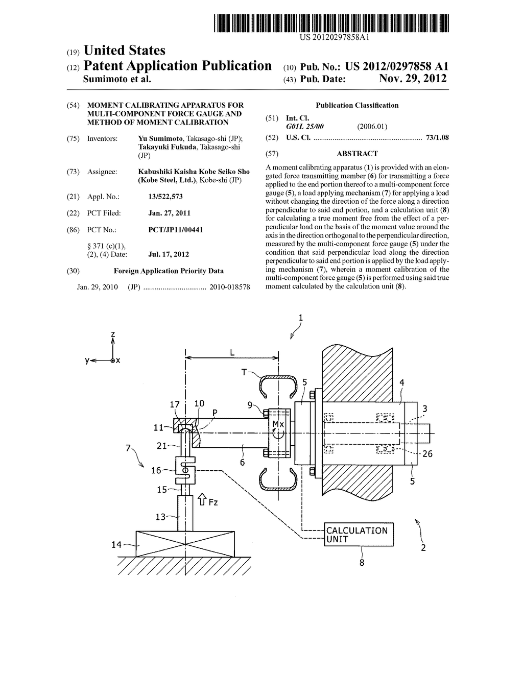 MOMENT CALIBRATING APPARATUS FOR MULTI-COMPONENT FORCE GAUGE AND METHOD OF     MOMENT CALIBRATION - diagram, schematic, and image 01