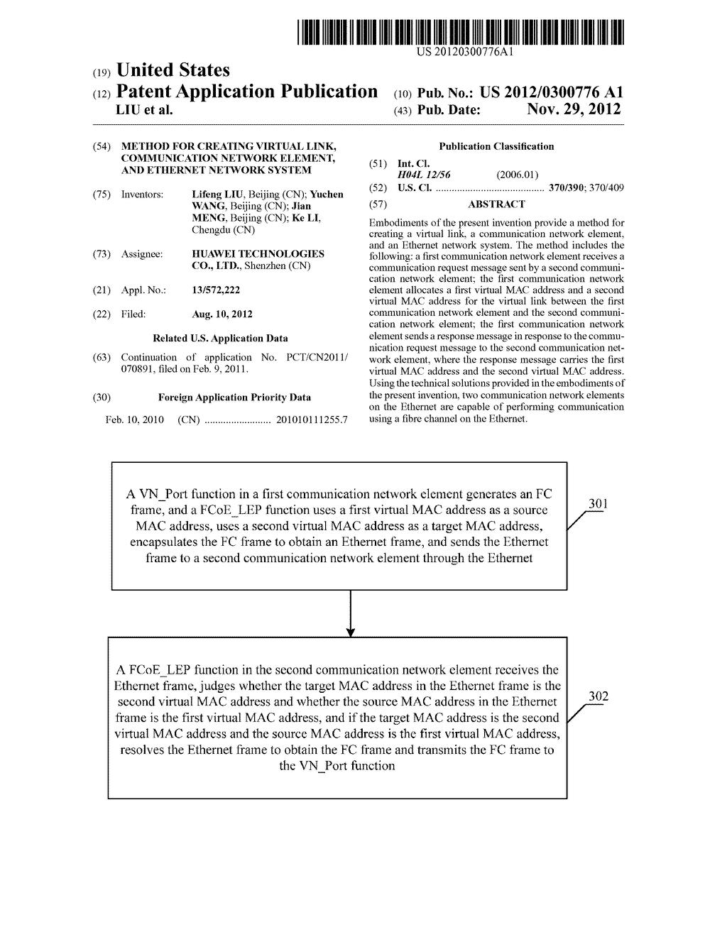 METHOD FOR CREATING VIRTUAL LINK, COMMUNICATION NETWORK ELEMENT, AND     ETHERNET NETWORK SYSTEM - diagram, schematic, and image 01