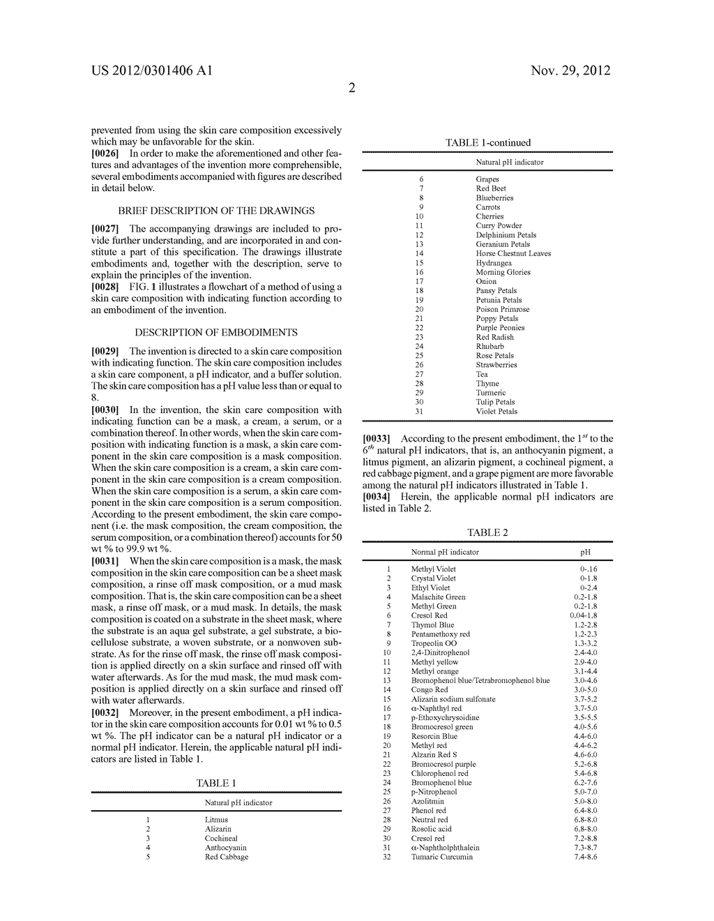 SKIN CARE COMPOSITION WITH INDICATING FUNCTION AND METHOD OF USING THE     SAME - diagram, schematic, and image 04