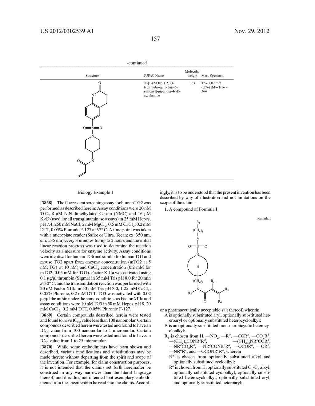 TRANSGLUTAMINASE TG2 INHIBITORS, PHARMACEUTICAL COMPOSITIONS, AND METHODS     OF USE THEREOF - diagram, schematic, and image 158