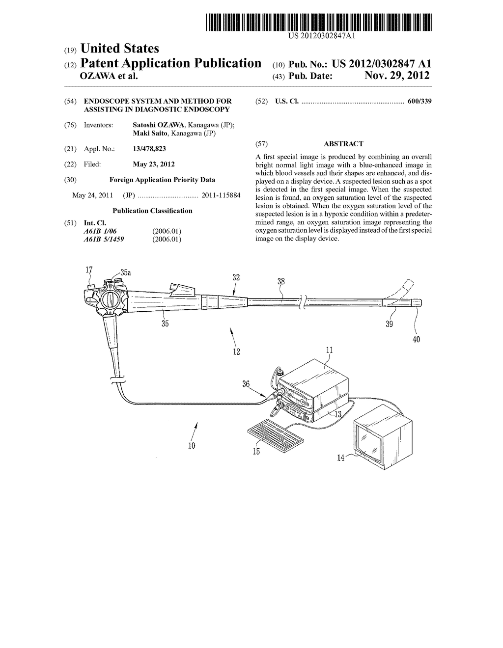 ENDOSCOPE SYSTEM AND METHOD FOR ASSISTING IN DIAGNOSTIC ENDOSCOPY - diagram, schematic, and image 01