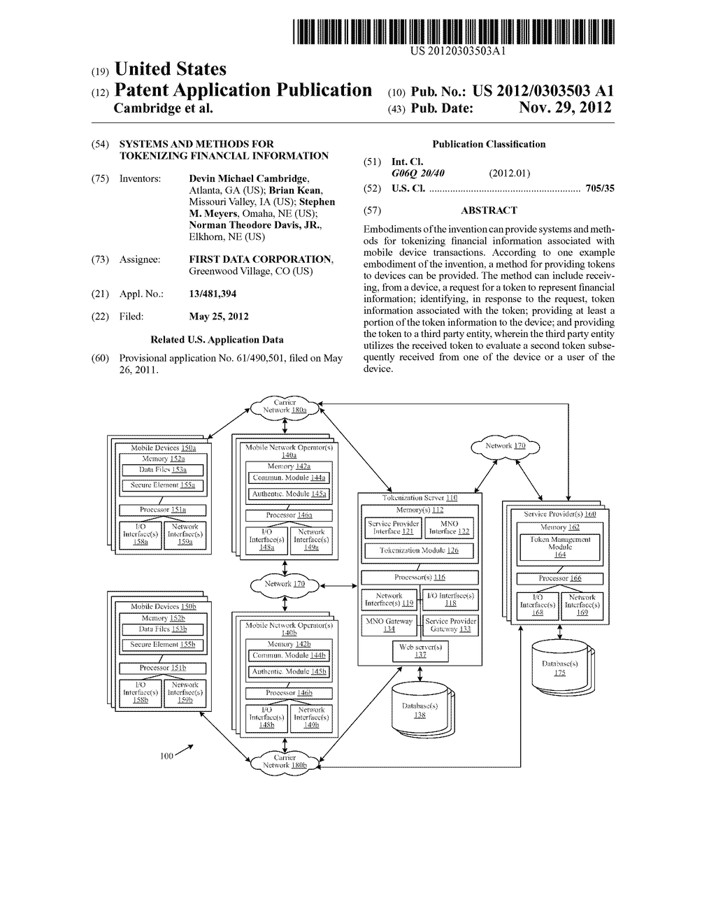 Systems and Methods for Tokenizing Financial Information - diagram, schematic, and image 01