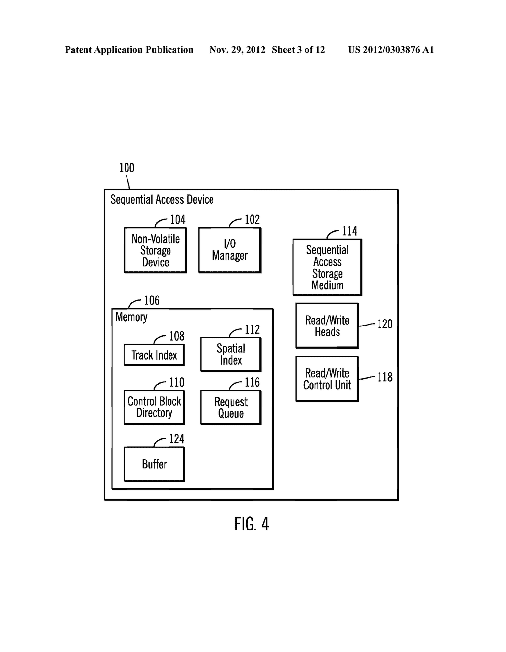 CACHING DATA IN A STORAGE SYSTEM  HAVING MULTIPLE CACHES INCLUDING     NON-VOLATILE STORAGE CACHE IN A SEQUENTIAL ACCESS STORAGE DEVICE - diagram, schematic, and image 04