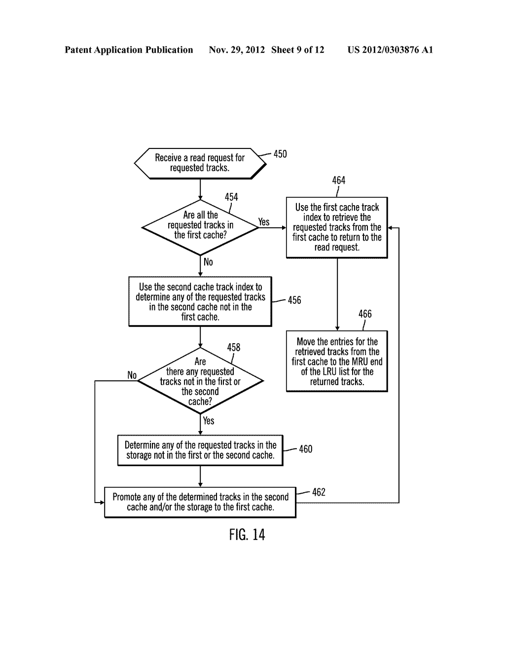 CACHING DATA IN A STORAGE SYSTEM  HAVING MULTIPLE CACHES INCLUDING     NON-VOLATILE STORAGE CACHE IN A SEQUENTIAL ACCESS STORAGE DEVICE - diagram, schematic, and image 10