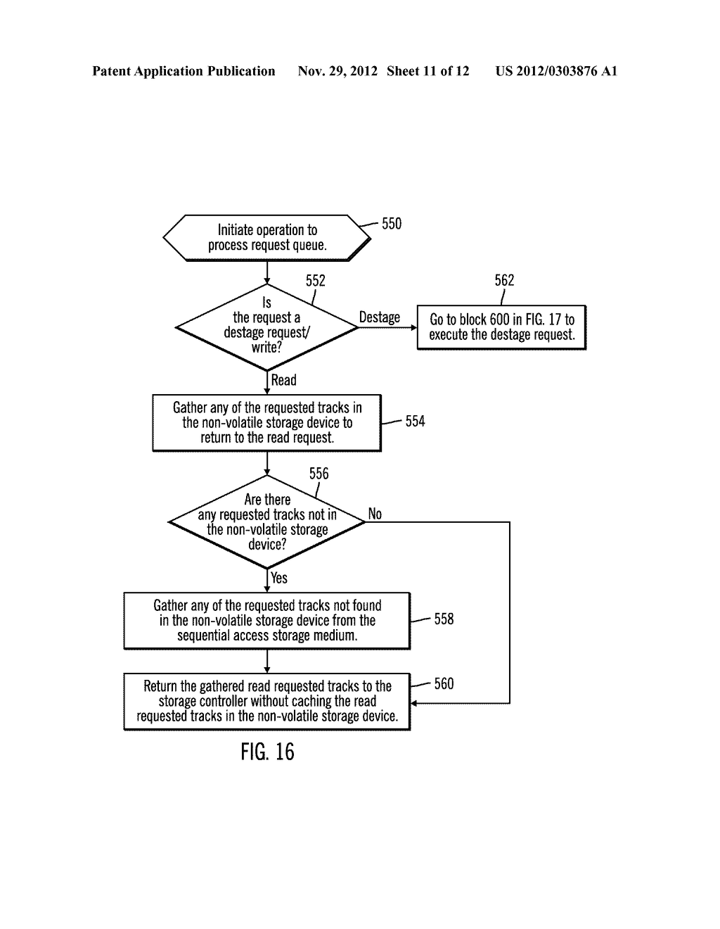 CACHING DATA IN A STORAGE SYSTEM  HAVING MULTIPLE CACHES INCLUDING     NON-VOLATILE STORAGE CACHE IN A SEQUENTIAL ACCESS STORAGE DEVICE - diagram, schematic, and image 12