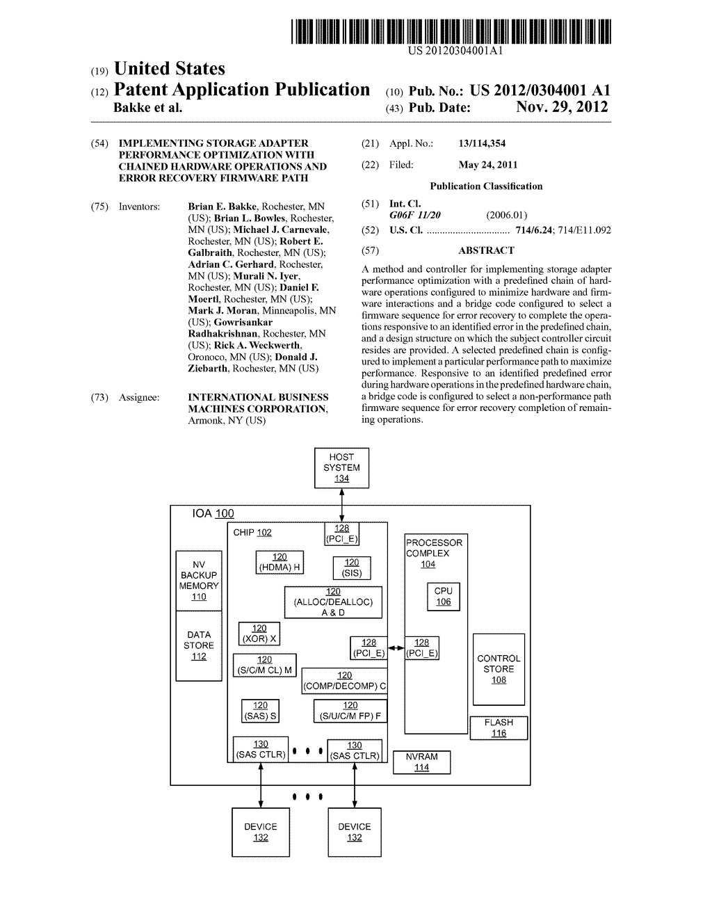 IMPLEMENTING STORAGE ADAPTER PERFORMANCE OPTIMIZATION WITH CHAINED     HARDWARE OPERATIONS AND ERROR RECOVERY FIRMWARE PATH - diagram, schematic, and image 01
