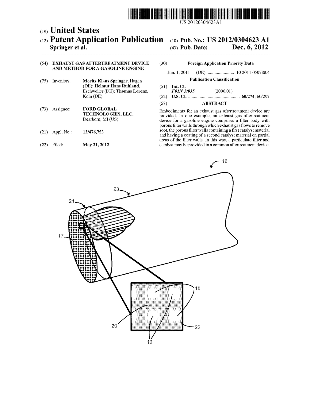 EXHAUST GAS AFTERTREATMENT DEVICE AND METHOD FOR A GASOLINE ENGINE - diagram,  schematic, and image 01