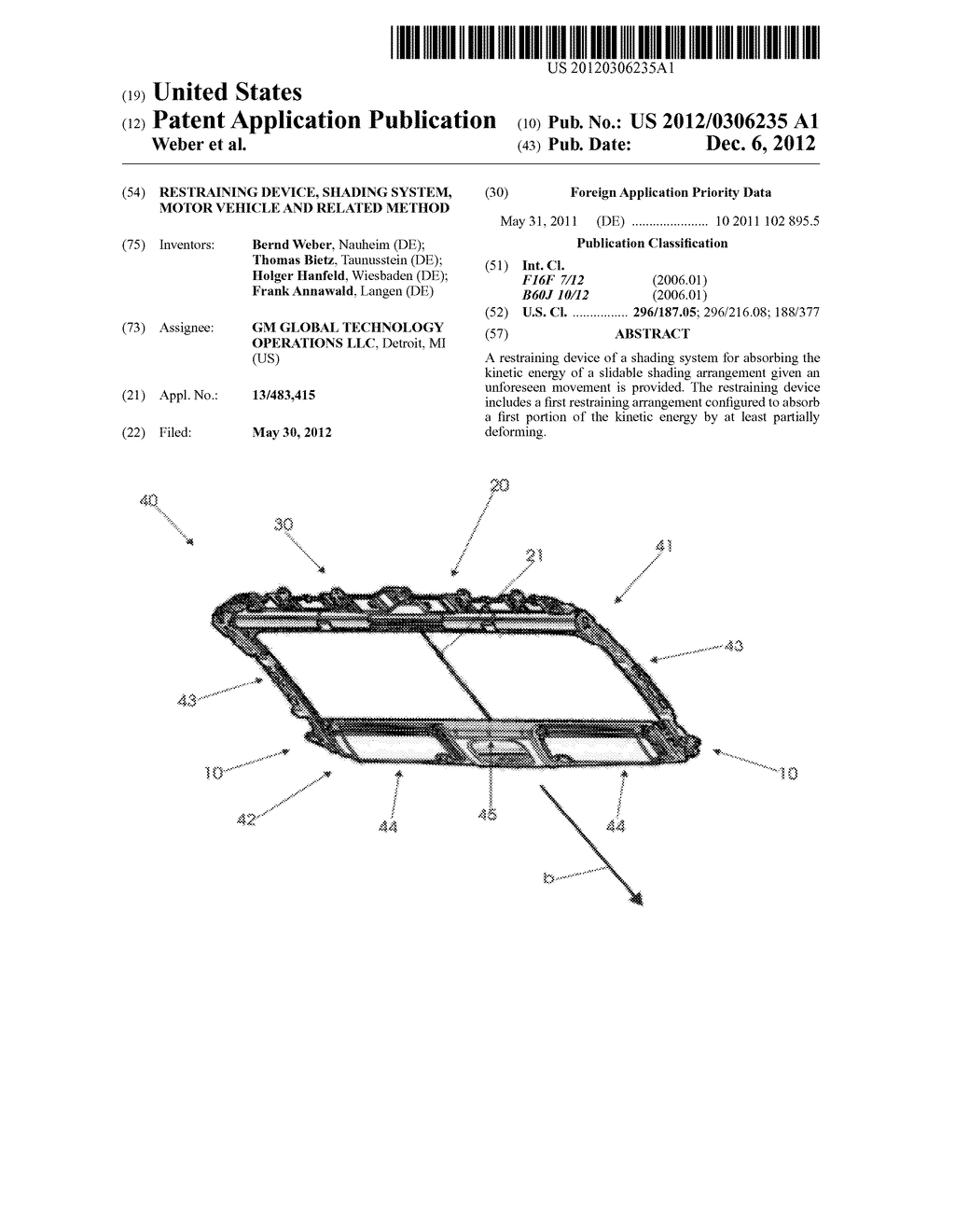 RESTRAINING DEVICE, SHADING SYSTEM, MOTOR VEHICLE AND RELATED METHOD - diagram, schematic, and image 01
