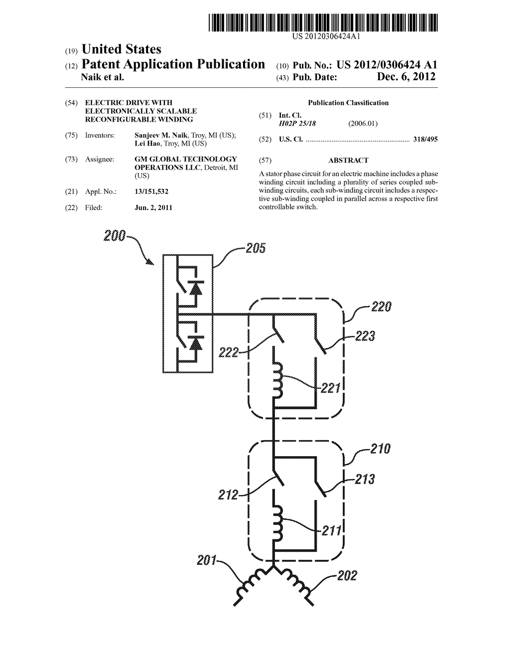 ELECTRIC DRIVE WITH ELECTRONICALLY SCALABLE RECONFIGURABLE WINDING - diagram, schematic, and image 01