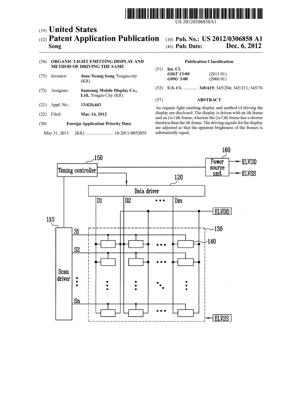 ORGANIC LIGHT EMITTING DISPLAY AND METHOD OF DRIVING THE SAME - diagram, schematic, and image 01