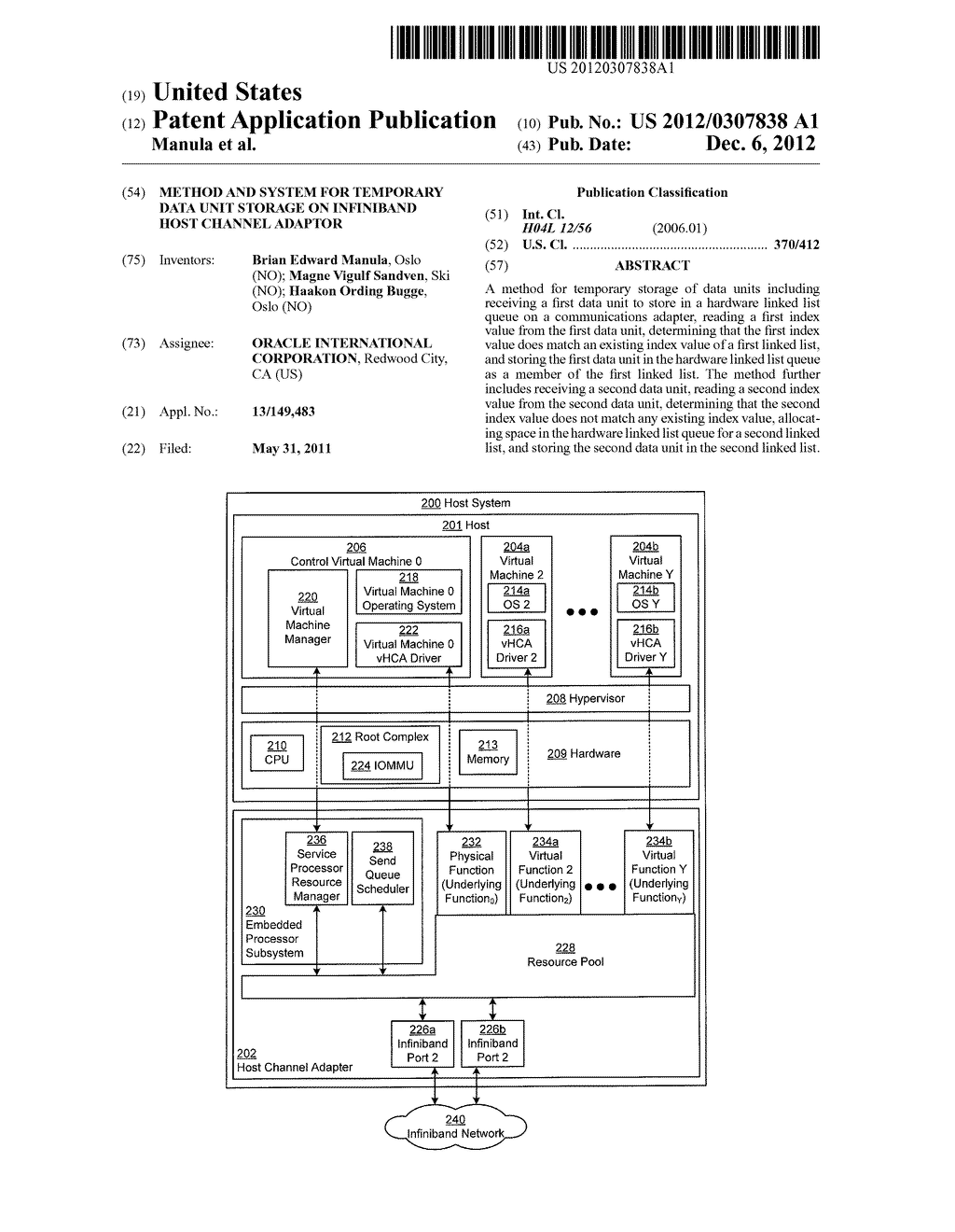 METHOD AND SYSTEM FOR TEMPORARY DATA UNIT STORAGE ON INFINIBAND HOST     CHANNEL ADAPTOR - diagram, schematic, and image 01
