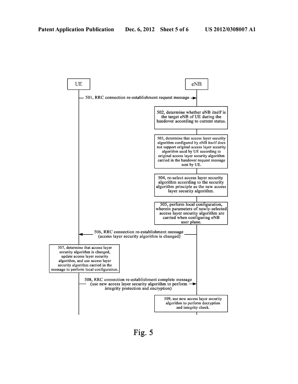 METHOD AND SYSTEM FOR SECURITY PROCESSING DURING RRC CONNECTION     RE-ESTABLISHMENT - diagram, schematic, and image 06