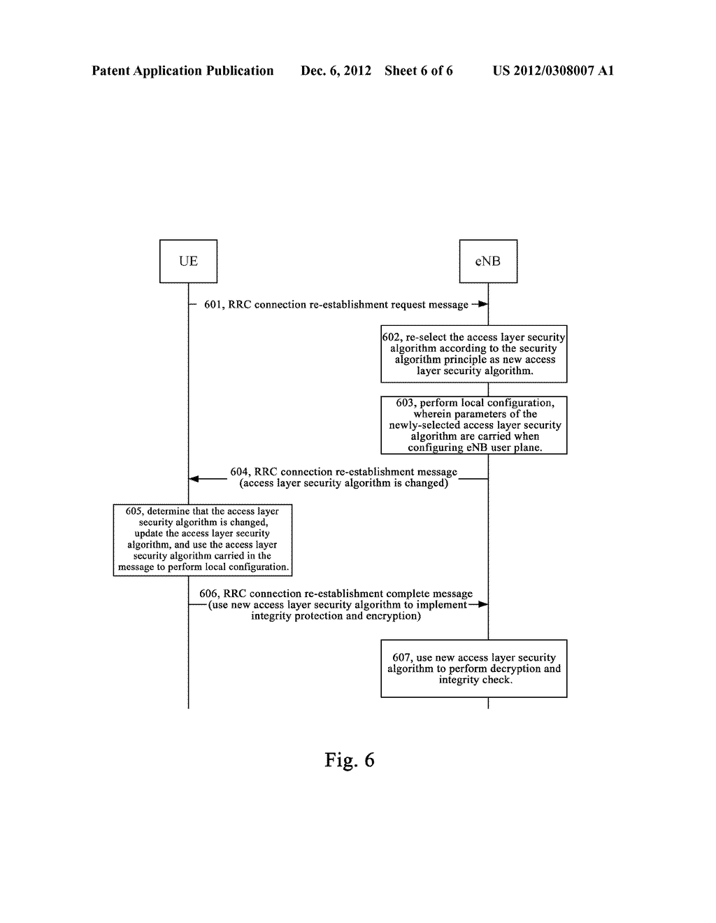 METHOD AND SYSTEM FOR SECURITY PROCESSING DURING RRC CONNECTION     RE-ESTABLISHMENT - diagram, schematic, and image 07