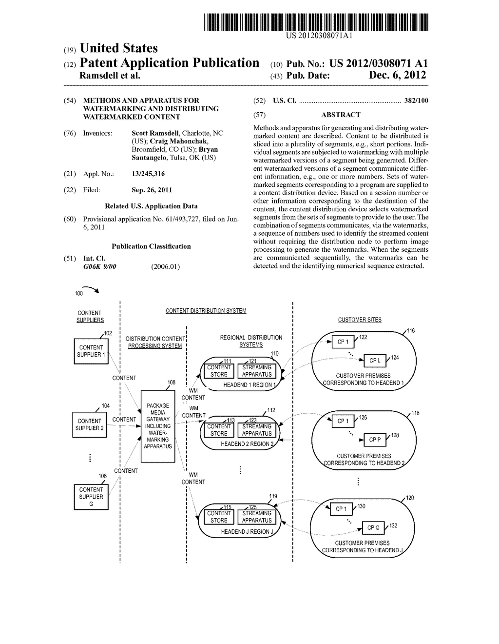 METHODS AND APPARATUS FOR WATERMARKING AND DISTRIBUTING WATERMARKED     CONTENT - diagram, schematic, and image 01
