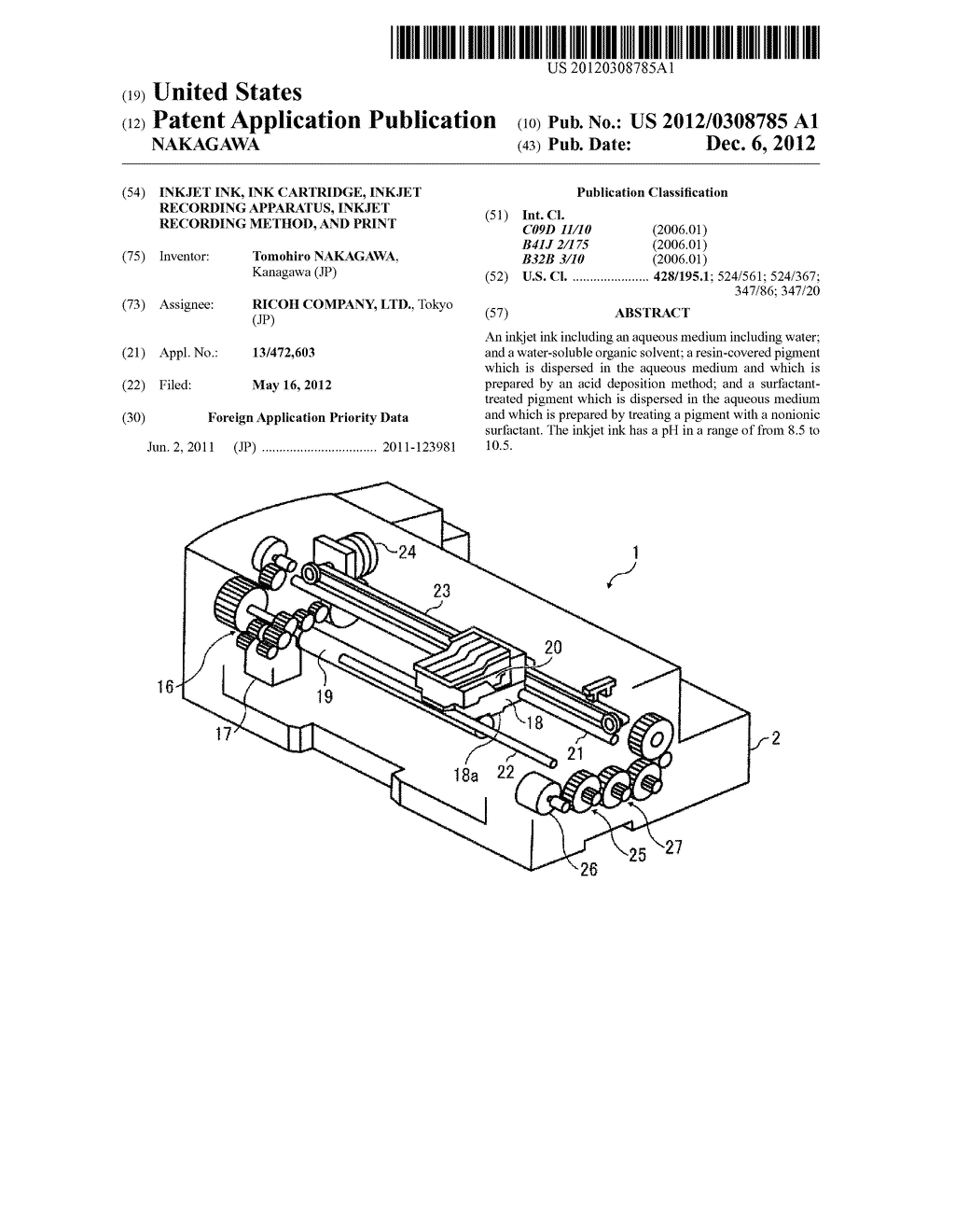 INKJET INK, INK CARTRIDGE, INKJET RECORDING APPARATUS, INKJET RECORDING     METHOD, AND PRINT - diagram, schematic, and image 01