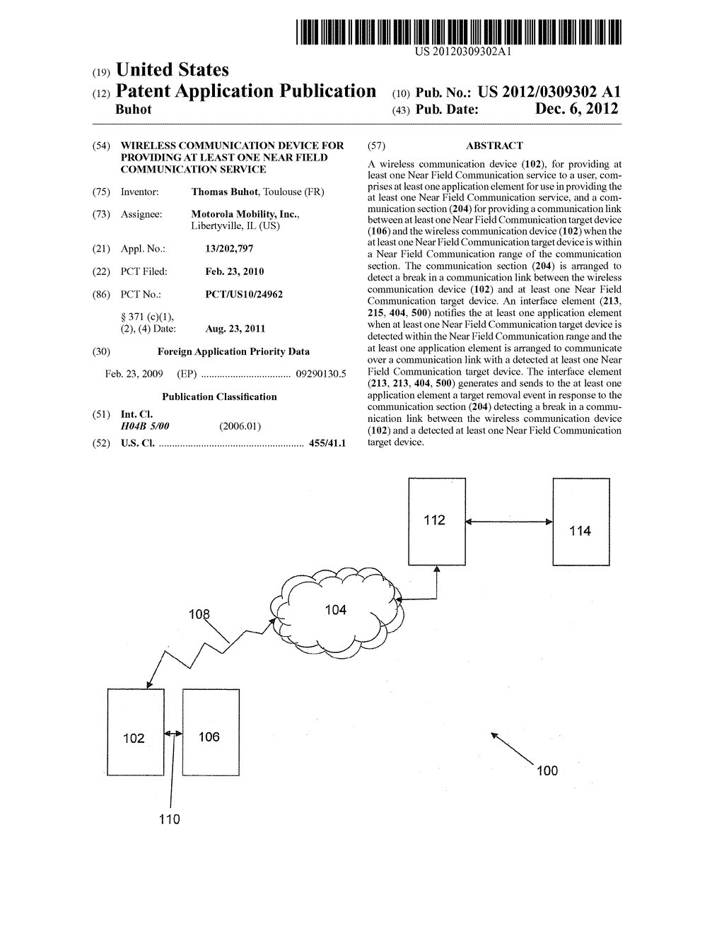 Wireless Communication Device for Providing at Least One Near Field     Communication Service - diagram, schematic, and image 01